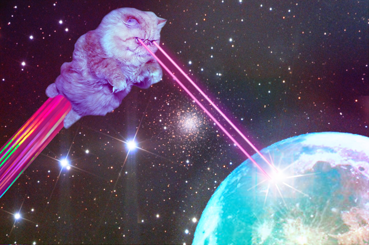 A space cat obliterating a planet of unworthy programmers writing at an unacceptable level of abstraction